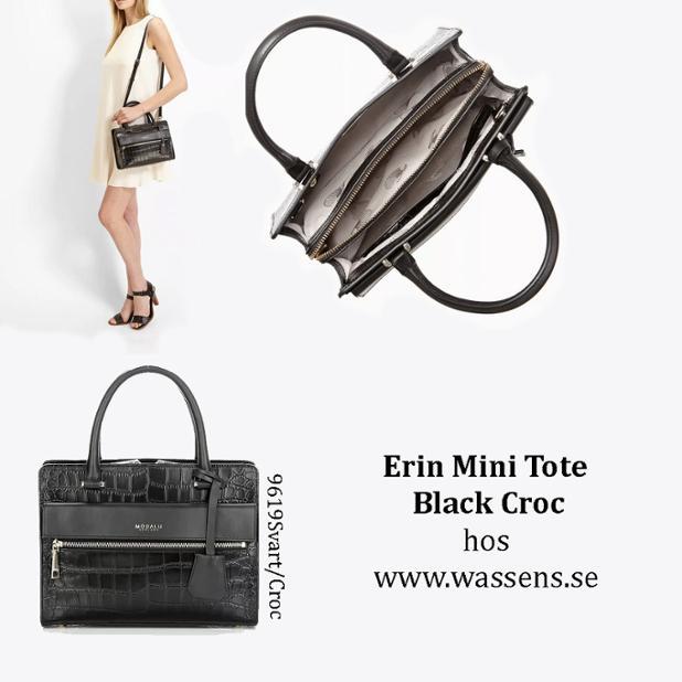 erin mini tote black croc